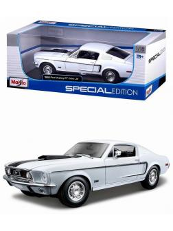 Металлическая машинка Maisto 1:18 «Ford Mustang GT Cobra Jet 1968 г.» 31628 / Белый
