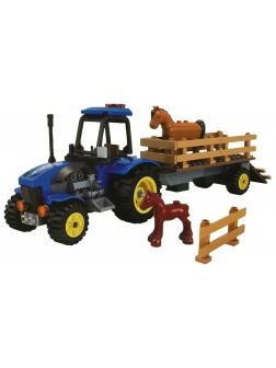 Конструктор JILEBAO Happy Farm «Трактор для перевозки лошадей» 6007 / 194 детали