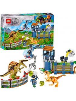 Конструктор 818 «Нападение дилофозавра на сторожевой пост» 82135 (Jurassic World) 421 деталь