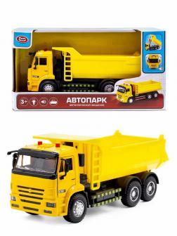 Металлическая машина Play Smart 1:38 «Камаз 65115 Самосвал» 20 см. 9621-B Автопарк,  инерционная, свет и звук / Желтый