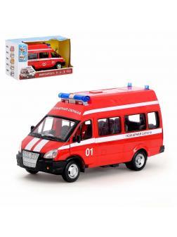 Инерционная машинка Play Smart 1:29 «ГАЗ-27057 Автобус Пожарной службы» 19 см. 9707-A, Микроавтобус