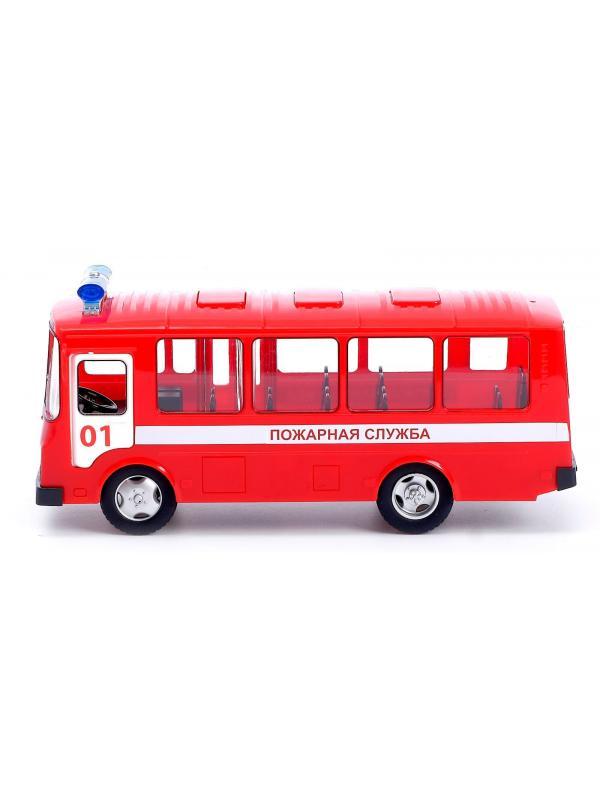 Автобус инерционный Play Smart 1:32 «ПАЗ 3205: Пожарная служба» 9714-A Автопарк, свет и звук