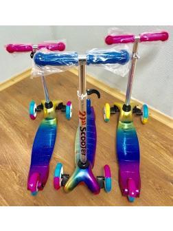 Самокат детский Scooter МИНИ Гальванический цвет, не складной, светящиеся колеса.