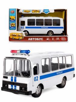 Автобус инерционный Play Smart 1:32 «ПАЗ 3205 Полиция» 18 см. 9714-F Автопарк, свет и звук