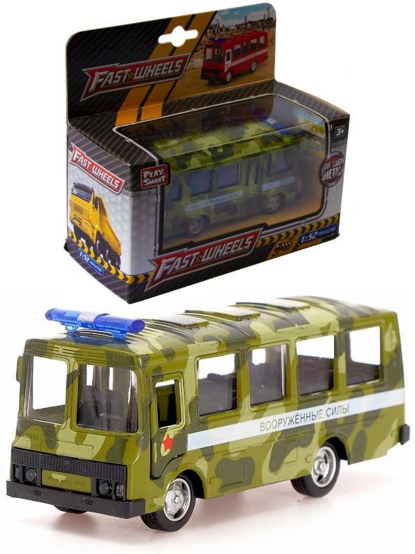 Металлическая машинка Play Smart 1:52 «ПАЗ 3237 Автобус Вооруженных сил» 12 см. 6523-С Автопарк, инерционная