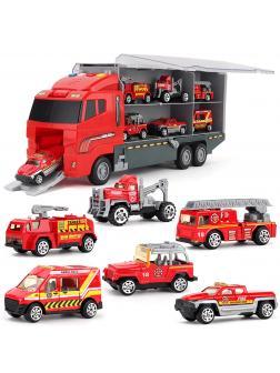 Игровой набор «Трейлер с пожарной техникой» 6811B