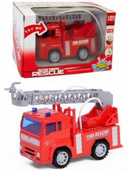 Машинка пластмассовая 1:20 «Пожарная машина с лестницей» 661-03, инерционная, свет и звук, стреляет водой