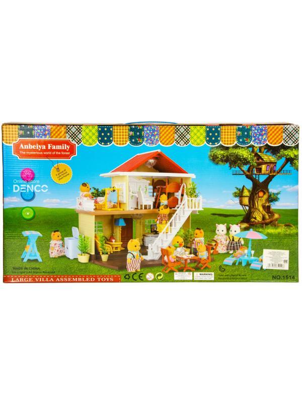 Игровой набор Happy Family «Лесной домик с мансардой» для зверят с аксессуарами, с подсветкой 1514