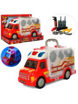 Набор пожарного в машине-кейсе «Fire Van» 661-175 / со светом и звуком