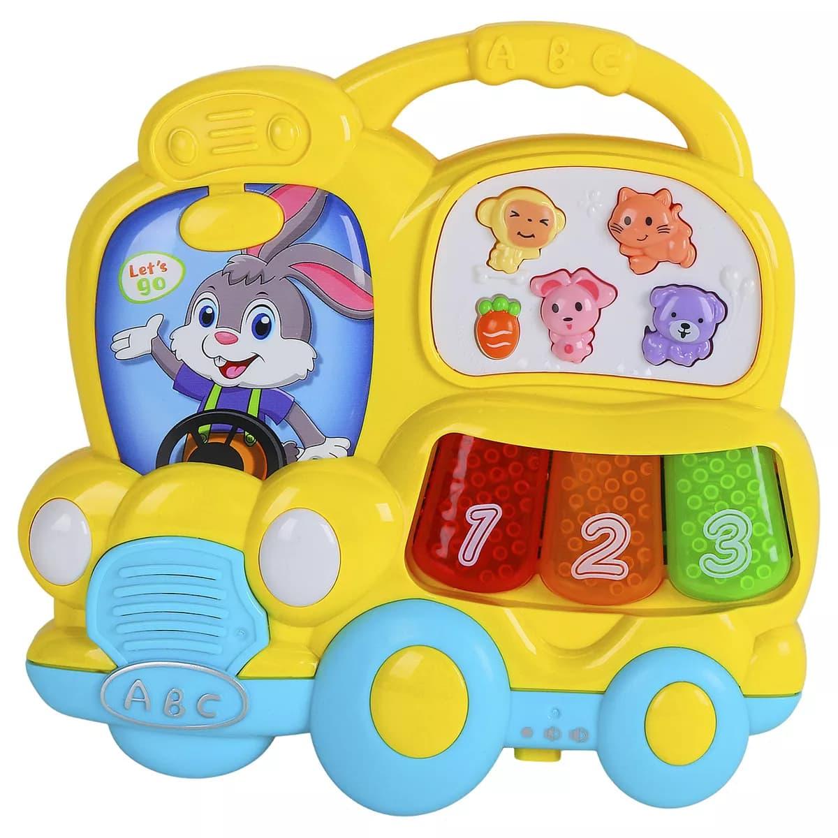 Игрушка музыкальная «Автобус-пианино» со светом и звуком 855-67А / Микс