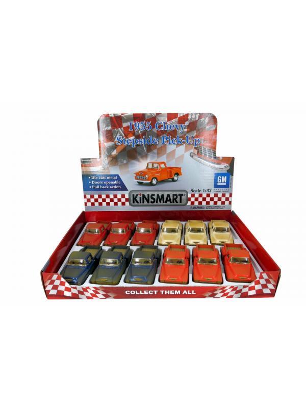 Металлическая машинка Kinsmart 1:32 «1955 Chevy Stepside Pick-up (Грязный)» KT5330DY, инерционная / Микс