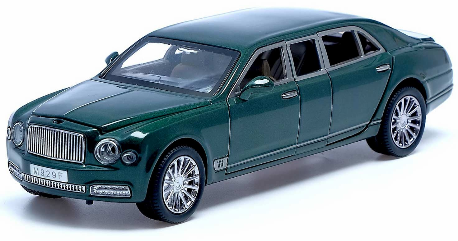 Машинка металлическая XLG 1:24 «Bentley Mulsanne Grand Limousine» M929F 20 см. инерционная, свет, звук в коробке / Микс