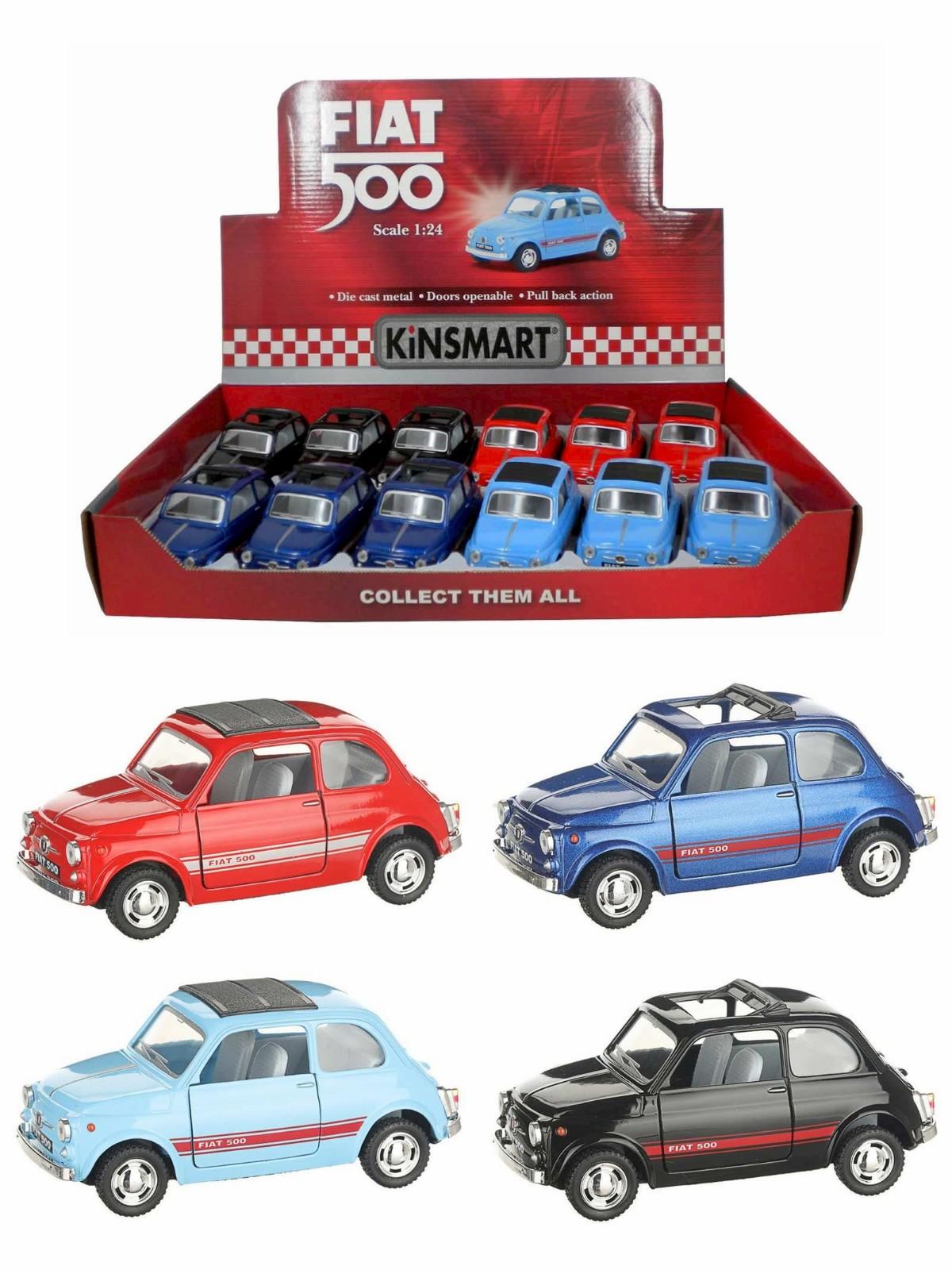 Металлическая машинка Kinsmart 1:24 «Fiat 500» KT5004D, инерционная / Микс
