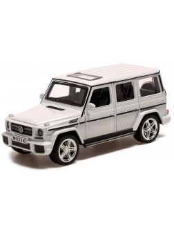 Машинка металлическая XLG 1:24 «Mercedes-Benz G-class» M923K 20 см. инерционная, свет, звук / Белый