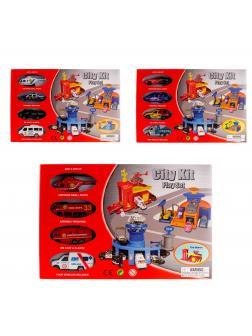 Детский игровой набор City Kit «Полицейский участок/ пожарная часть/ автосервис» 4 машины 2066PT / Микс