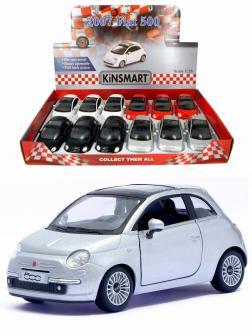 Металлическая машинка Kinsmart 1:28 «2007 Fiat 500» KT5345D, инерционная / Серый металлик