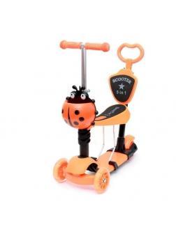 Детский Трехколесный Самокат Scooter 5 в 1 Божья коровка / Оранжевый
