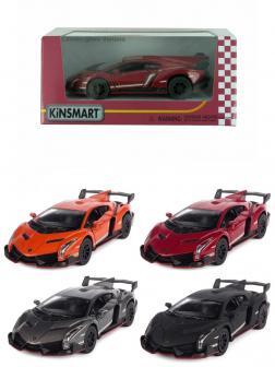 Металлическая машинка Kinsmart 1:36 «Lamborghini Veneno» KT5367W, инерционная в коробке / Микс