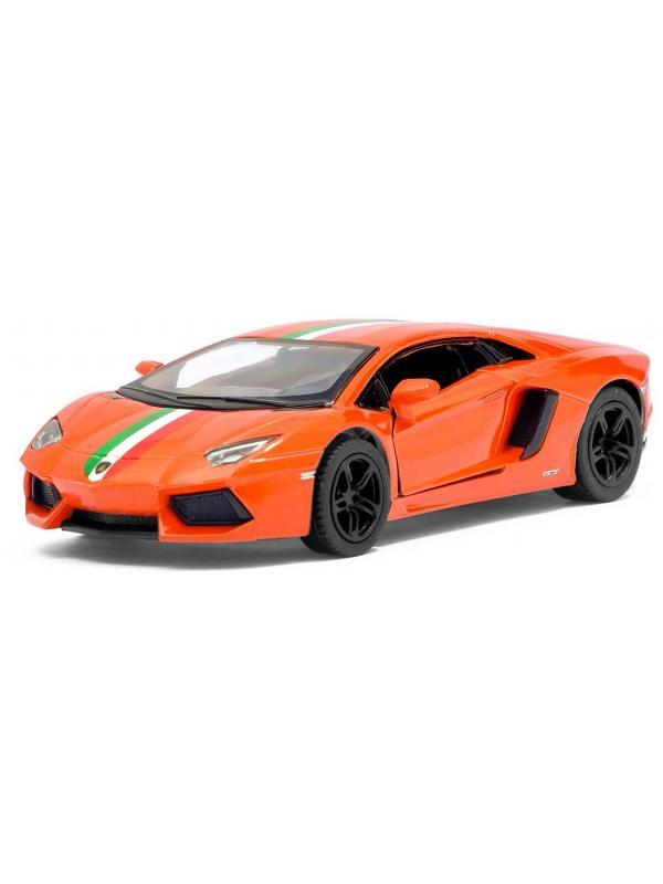 Металлическая машинка Kinsmart 1:38 «Lamborghini Aventador LP 700-4 с принтом» KT5355DF, инерционная / Микс