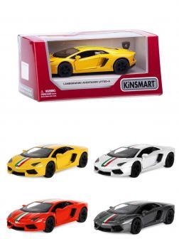Металлическая машинка Kinsmart 1:38 «Lamborghini Aventador LP 700-4 с принтом» KT5355WF, инерционная в коробке / Микс