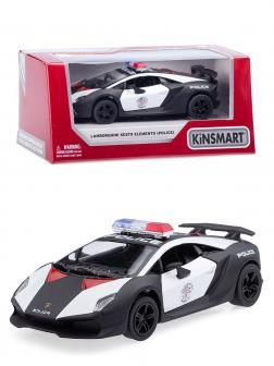 Машинка металлическая Kinsmart 1:38 «Lamborghini Sesto Elemento (Police)» KT5359WP инерционная в коробке