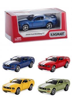 Металлическая машинка Kinsmart 1:38 «2006 Ford Mustang GT с принтом» KT5091WF инерционная в коробке / Микс