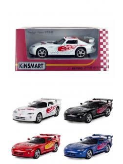 Металлическая машинка Kinsmart 1:36 «Dodge Viper GTS-R с принтом» KT5039WF, инерционная в коробке / Микс