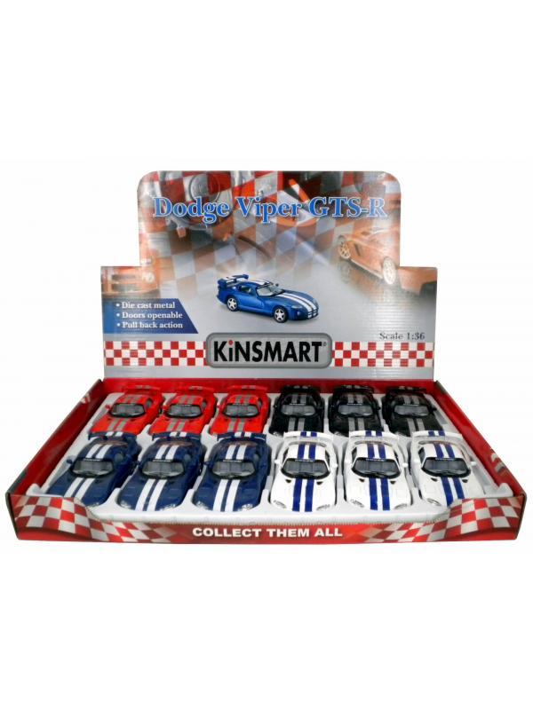 Металлическая машинка Kinsmart 1:36 «Dodge Viper GTS-R» KT5039D, инерционная / Микс