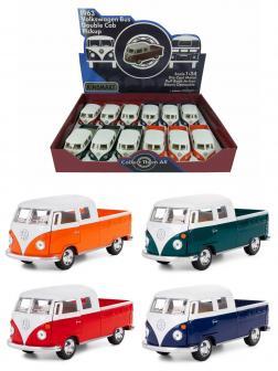 Металлическая машинка Kinsmart 1:34 «1963 Volkswagen Bus Double Cab Pickup» KT5387D инерционная / Микс