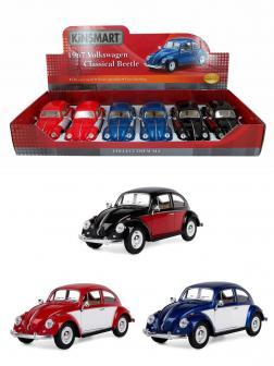 Металлическая машинка Kinsmart 1:24 «1967 Volkswagen Classical Beetle (Цветные двери)» KT7002DC инерционная / Микс