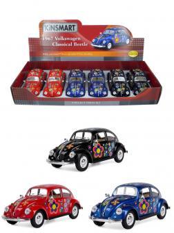Металлическая машинка Kinsmart 1:24 «1967 Volkswagen Classical Beetle (С принтом)» KT7002DF инерционная / Микс