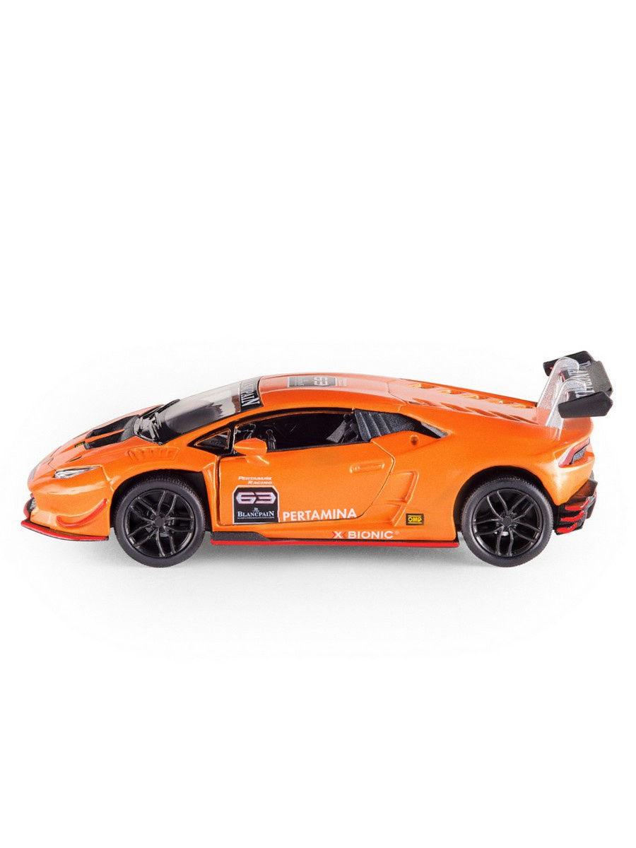 Металлическая машинка Kinsmart 1:36 «Lamborghini Huracan LP620-2 Super Trofeo» KT5389W, инерционная в коробке / Микс
