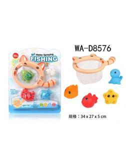 Игрушка для ванной, 4 фигурки морских обитателей с сачком.