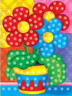 Набор для творчества Рыжий кот Алмазная мозаика ЦВЕТЫ В ГОРШОЧКЕ, с подрамником с полным заполнением 10*15см