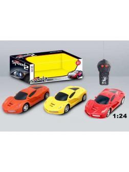 Машинка р/у 1:24 2CH, световые эффекты, цвета в ассорт. (красный, желтый, оранжевый) 25,4х10,6х9,2 см