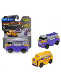 Машинка-трансформер 1TOY Transcar Автовывернушка 2в1 Даблдэккер  Школьный автобус 8 см