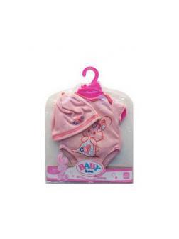 Одежда для кукол: боди (розовый цвет) в наборе с шапочкой