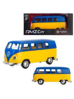 Машинка металлическая Uni-Fortune RMZ City 1:32 Автобус инерционный Volkswagen Type 2 (T1) Transporter, цвет матовый синий с желтым, 16,5*7,5*7 см