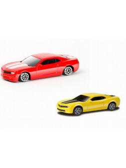 Машинка металлическая Uni-Fortune RMZ City 1:64 Chevrolet Camaro, без механизмов, 2 цвета (желтый, красный), 9 x 4.2 x 4 см, 36шт в дисплее
