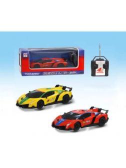 Машинка р/у 4CH 1:24, световые эффекты, цвета в ассорт. (красный, желтый) 28х12х10,5 см