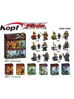 Суперпак минифигурок «Кендо Ниндзя с боевыми доспехами и оружием» 10059-10064 (Совместимый с ЛЕГО), 6 героев