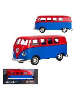 Машинка металлическая Uni-Fortune RMZ City 1:32 Автобус инерционный Volkswagen Type 2 (T1) Transporter, цвет матовый красный с синим, 16,5*7,5*7 см