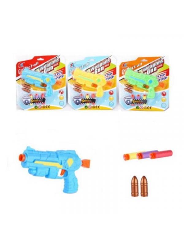 Бластер, в наборе с 2 мягкими пулями и 3 мягкими снарядами на присосках, микс K747-32 / Junfa