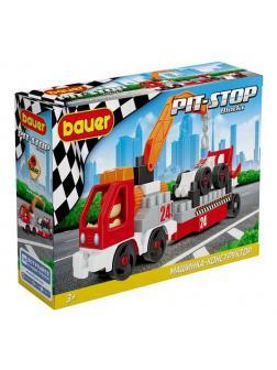 Конструктор Bauer Pit Stop с эвакуатором и гоночной машиной красно-белая