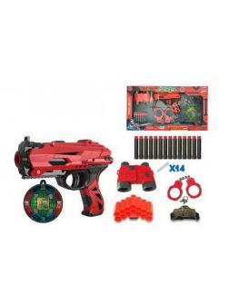 Набор игровой Бластер красно-черный с аксессуарами и мягкими снарядами 14 шт. FJ013 / Junfa