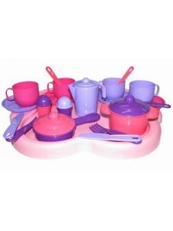 Набор посуды на 4 персоны Янина с подносом 41,5х35х10,5 см.