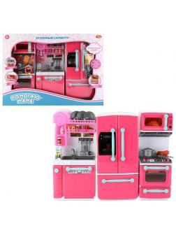 Кухонный гарнитур ABtoys Помогаю Маме в наборе с аксессуарами, 3 секции, на батарейках