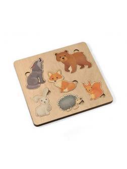 Игра развивающая деревянная Лесные животные (21х21см)