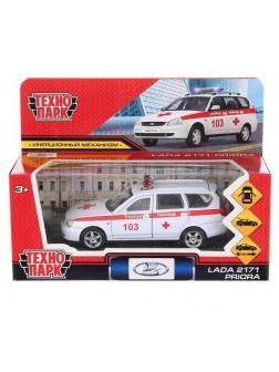 Машинка Технопарк Lada Priora Скорая помощь открываются двери багажик цвет белый 12 см