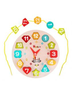 Развивающая игра Mapacha 3 в 1 Часы вкладыш, шнуровка, обучение формам и цифрам